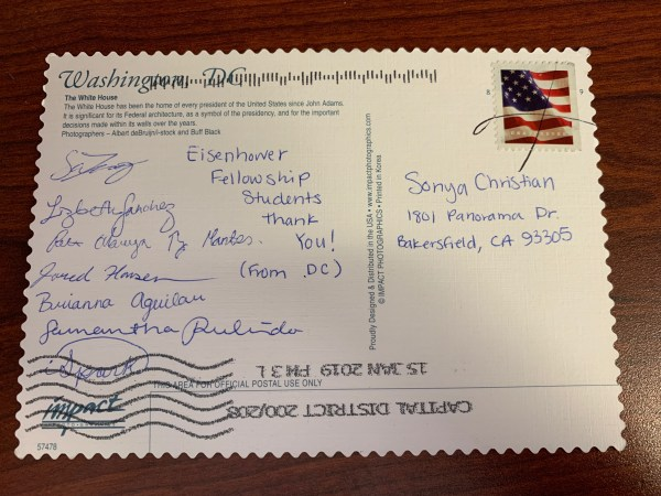 Postcard signed by 7 students thanking Sonya