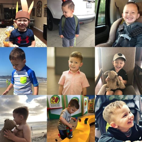 Multiple photos of a boy dressed for thanksgiving, with a backpack, in a car seat, at the beach, with a toy, playing with blocks and smiling.