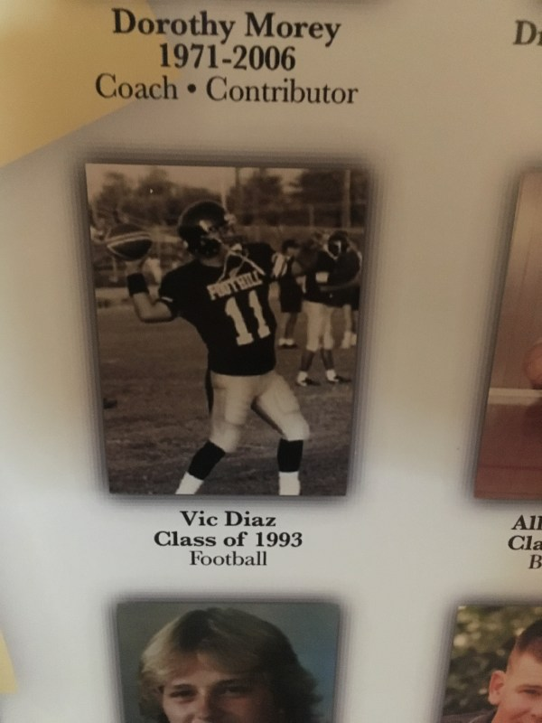 Close up of Vic Diaz photo on poster