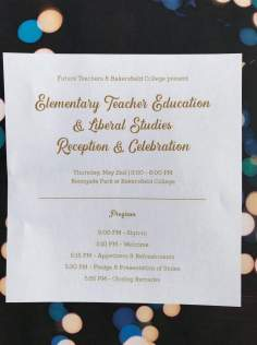 Program: Elementary Teacher Education & Liberal Studies Reception & Celebration.