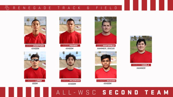 BC Renegade Track and Field Male All - WSC 1st team portraits.