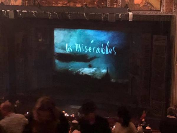 """The screen before showtime shows """"Les Miserables"""""""
