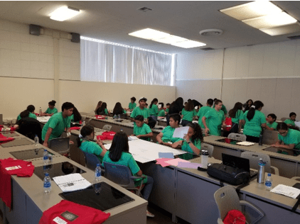 Students in a computer lab creating t-shirts.