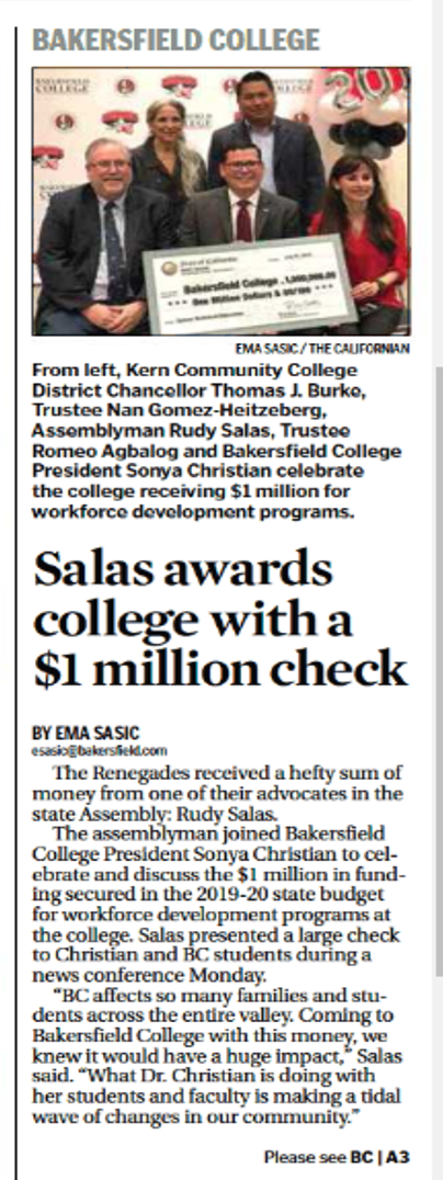 "Bakersfield Californian article ""Salas awards college with a $1 million check."""