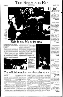Front page of the Renegade Rip from September 14, 2001