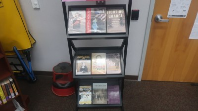 Books displayed on shelves.
