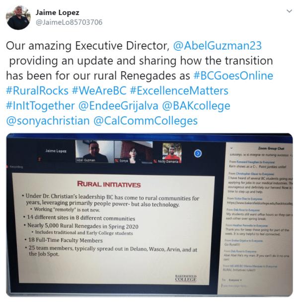 Tweet from Jaime Lopez