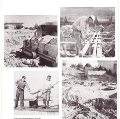 4 images on a yearbook page of campus construction.
