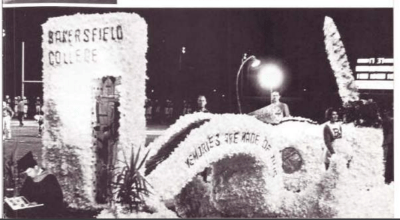 Homecoming float with Bakersfield College wall.