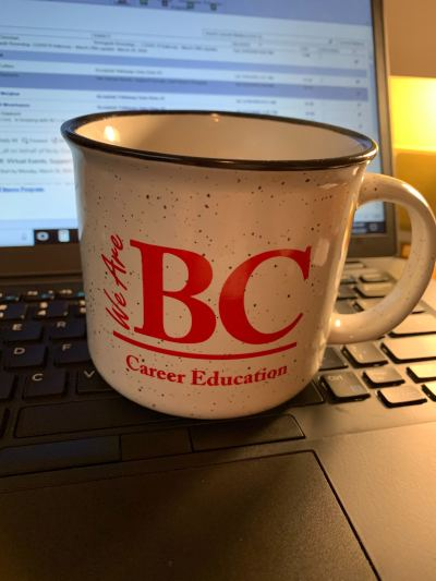 We are BC Career Education coffee cup.