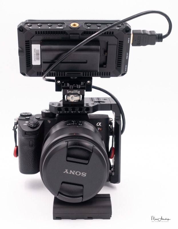 feelworld ma5, smallrig 2098 qr half cage for sony a7r iii-a7 iii-a7 ii-a7r ii-a7s ii`, smallrig 2174 monitor mount with arri locating pins- 087
