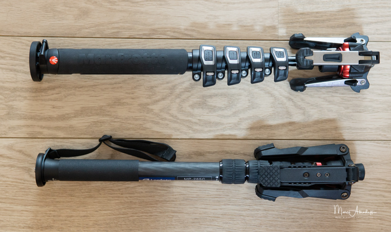 Leofoto MP285C comparison with Manfrotto Monopode MVMXPROC5-4