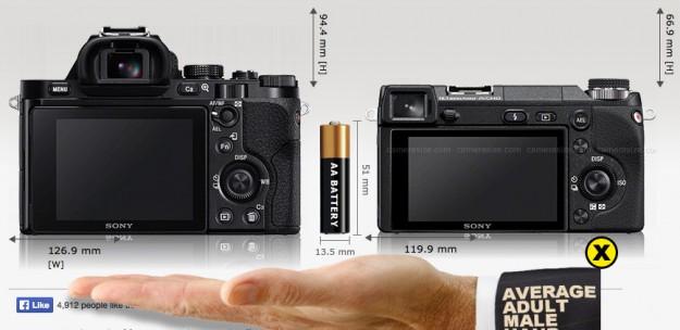 Sony A7 vs Sony Nex-6 - Back