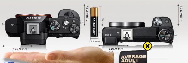 Sony A7 vs Sony Nex-6 - Top