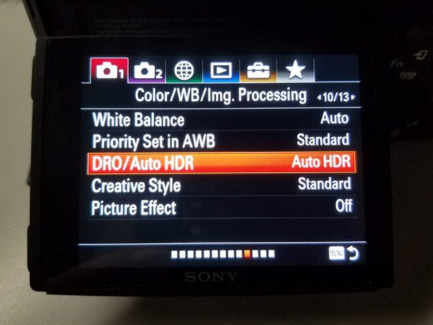 Sony A9 Auto HDR in Menu