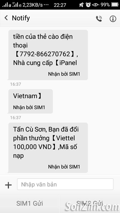 iPanel gửi mã thẻ cào qua tin nhắn sms