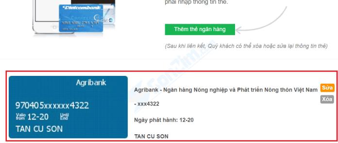 Thêm thẻ Ngân hàng rút tiền vào Bảo Kim - 3