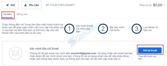Xác minh Địa chỉ Email cho tài khoản Blockchain - 1