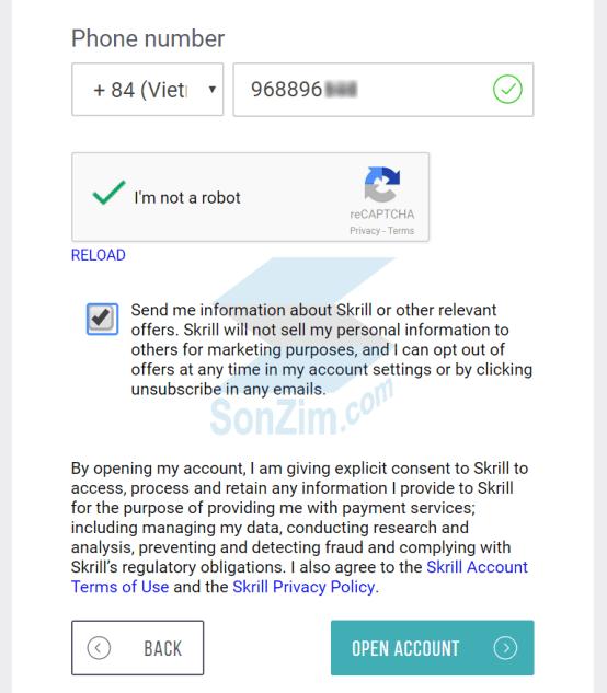 Cách đăng ký tài khoản Skrill - Bước 5