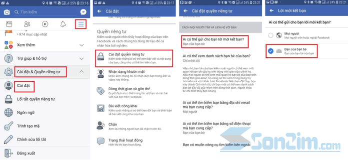 Cách chặn kết bạn trên facebook bằng app Facebook trên điện thoại