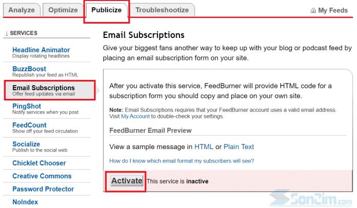Kích hoạt FeedBurner để tự động gửi bài viết mới qua email