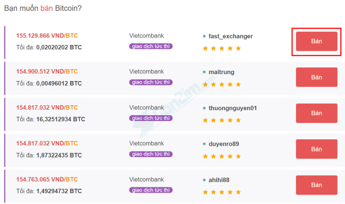 Cách bán Bitcoin trên sàn Remitano - Bước 1b