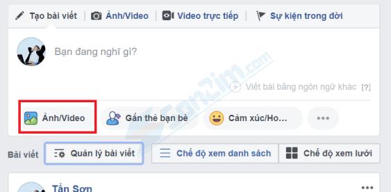 Cách sử dụng Video làm ảnh bìa Facebook - Bước 1