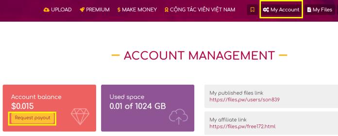Rút tiền trên FilesPW
