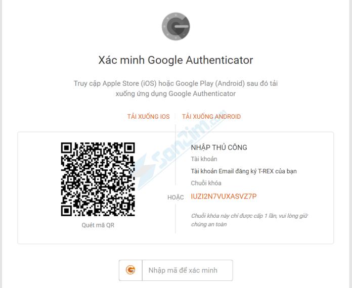 Thiết lập xác minh Google Authentacator trên T-Rex