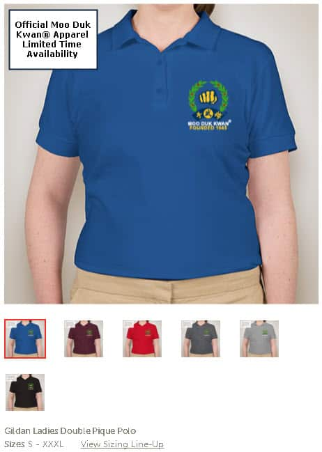 Official Licensed Moo Duk Kwan apparel available in Gildan Ladies Double Pique Polo