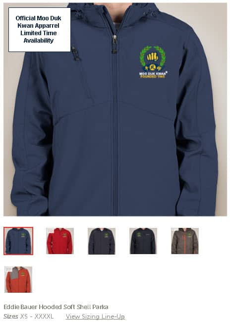 Official Licensed Moo Duk Kwan apparel available in Eddie Bauer, Core 365, Port Authority, Columbia, North End