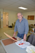 Co-organizer Bernie Klassen at his silk-screening demo