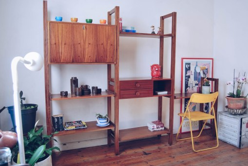 two drawer cabinet and five shelves