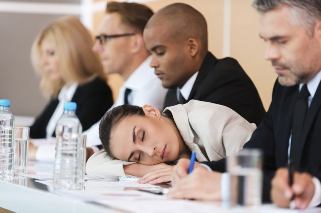 Falling asleep in a meeting