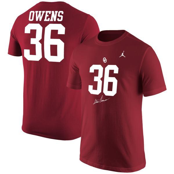 Oklahoma Sooners Jordan Brand Steve Owens Jersey T-Shirt - Crimson
