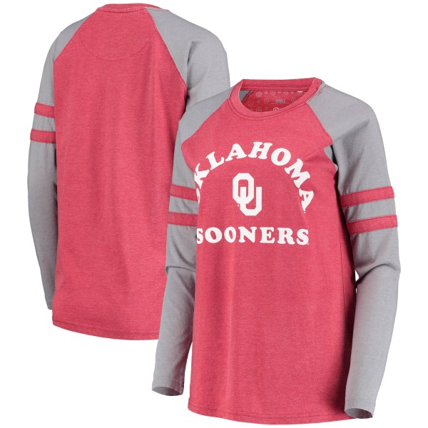 Oklahoma Sooners Pressbox Women's Piper Vintage Washed Raglan Long Sleeve Jersey T-Shirt - Heathered Crimson/Gray