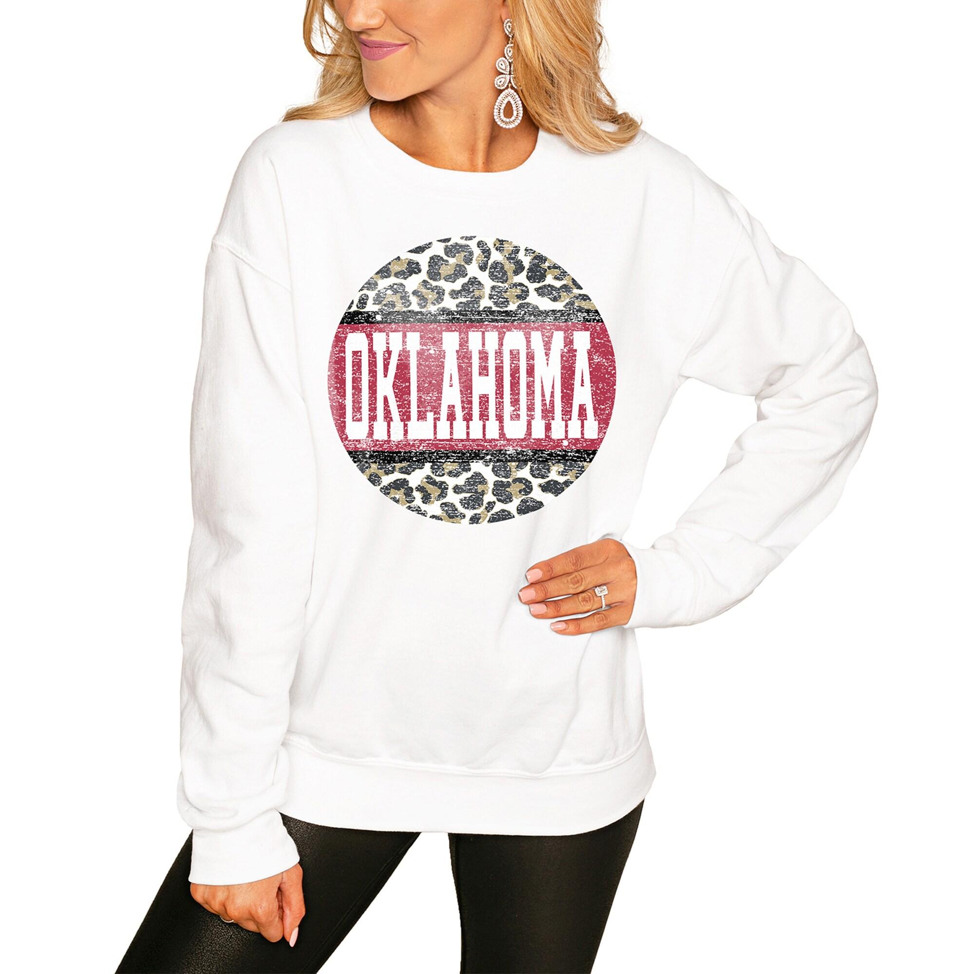 Oklahoma Sooners Women's Scoop & Score Pullover Sweatshirt - White