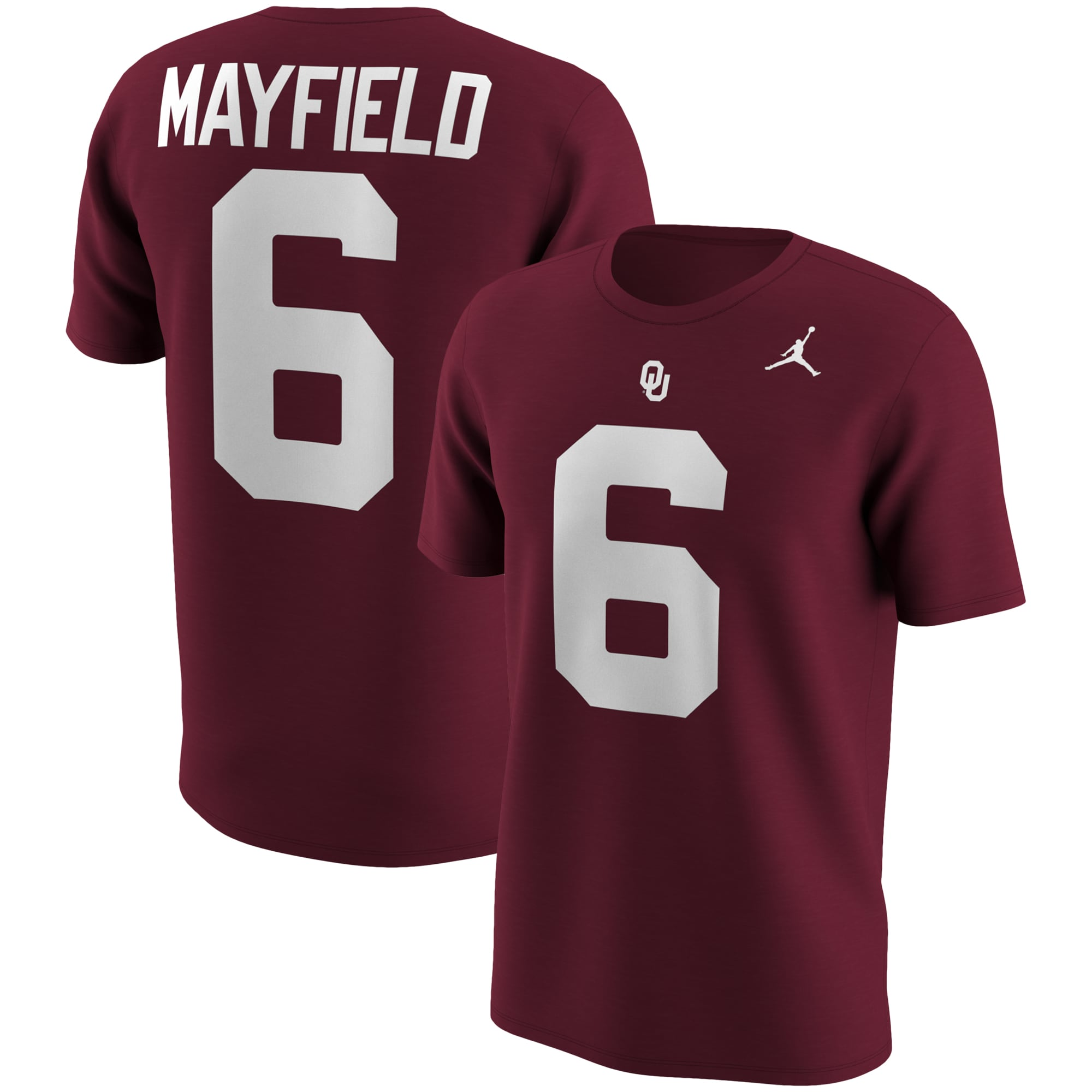 Baker Mayfield Oklahoma Sooners Jordan Brand College Name & Number T-Shirt - Crimson