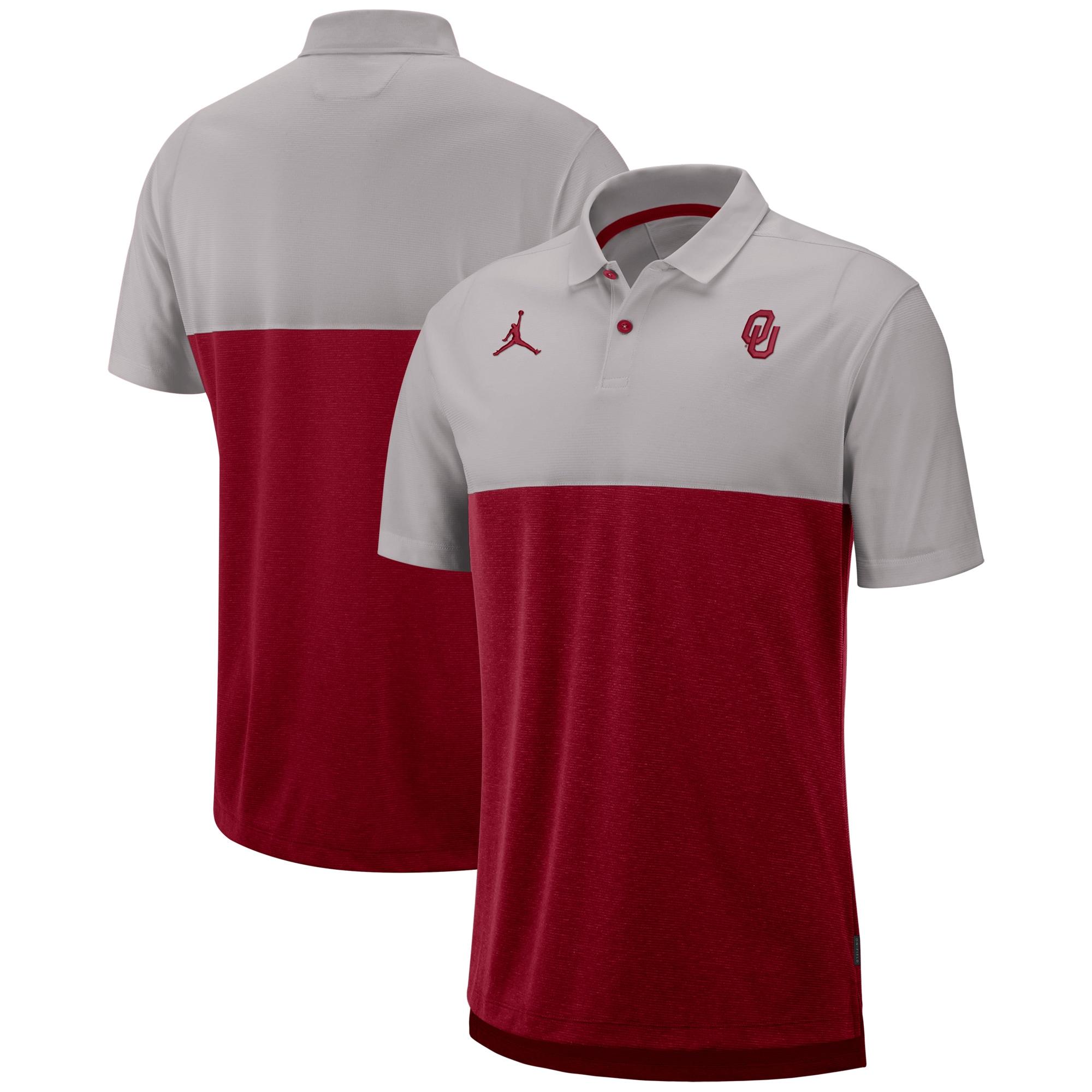 Oklahoma Sooners Jordan Brand 2019 Early Season Coaches Polo - Gray/Crimson