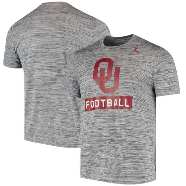 Oklahoma Sooners Jordan Brand Basketball Sport Performance Velocity Legend T-Shirt - Gray