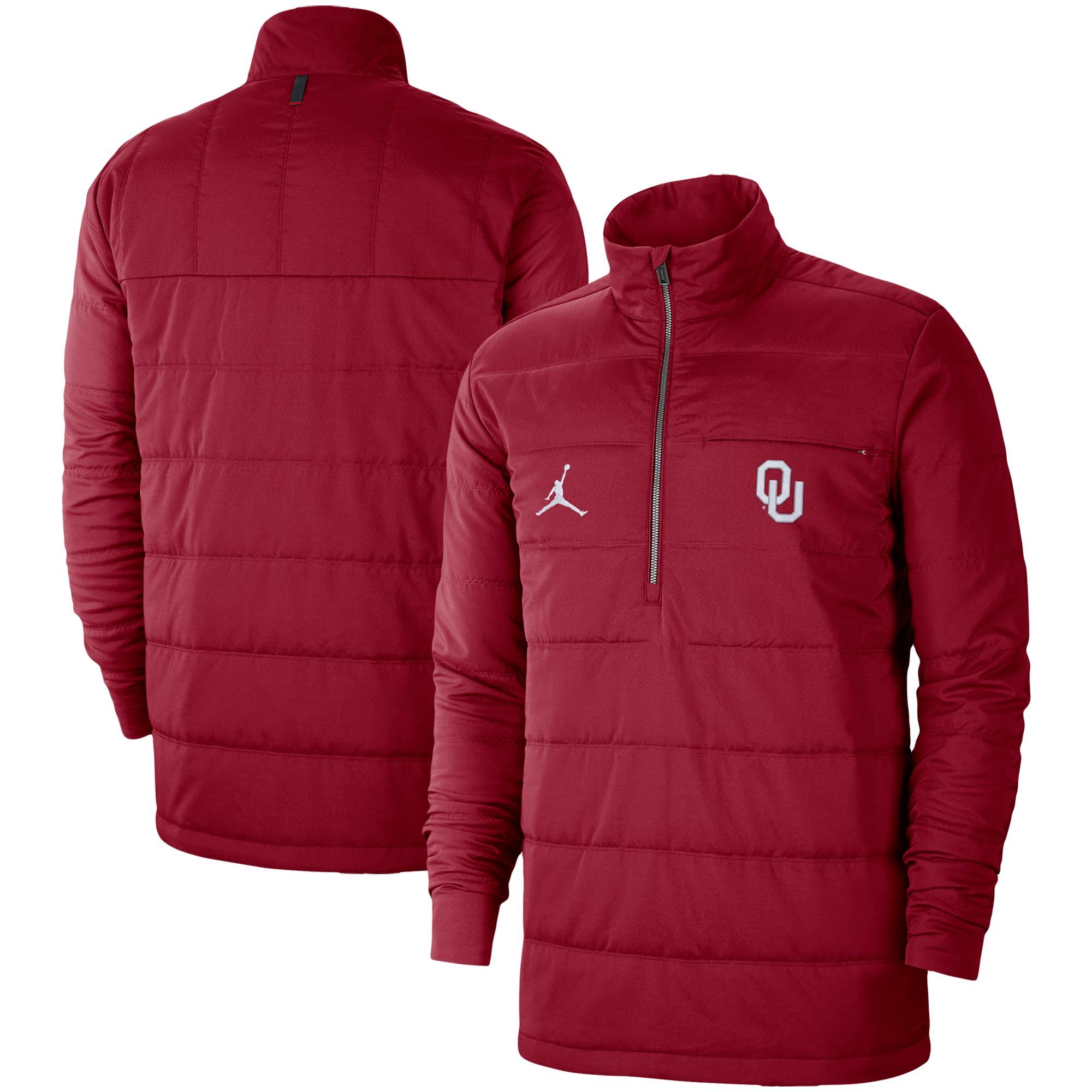 Oklahoma Sooners Jordan Brand Quilted Half-Zip Jacket - Crimson