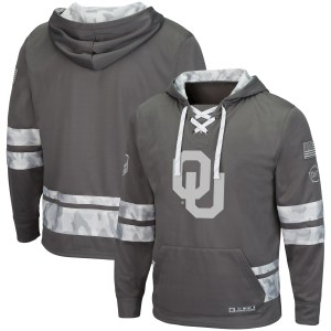 Men's Colosseum Gray Oklahoma Sooners OHT Military Appreciation Lace-Up Pullover Hoodie