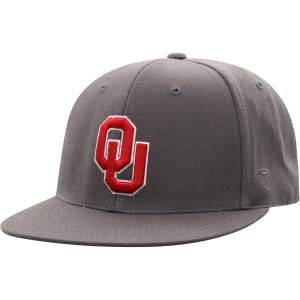 Men's Top of the World Charcoal Oklahoma Sooners Team Color Fitted Hat