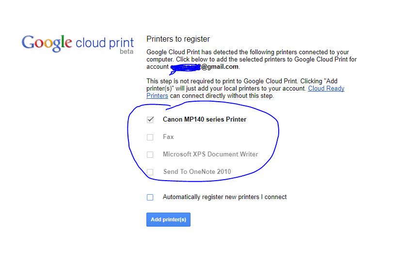 add printer to google cloud print