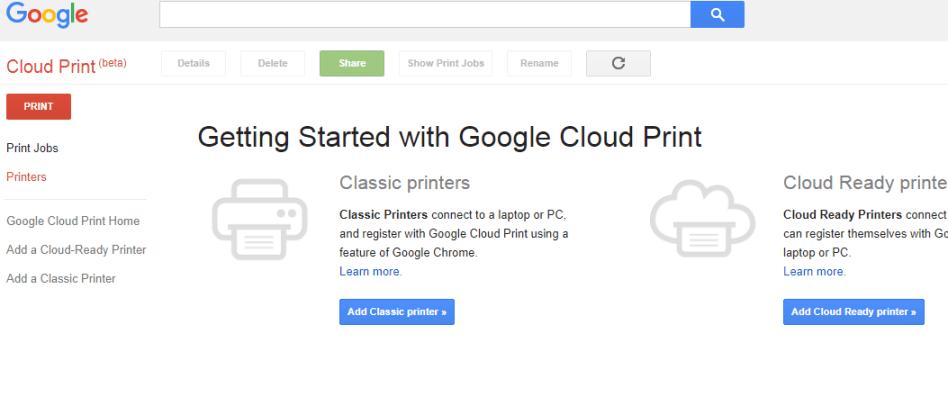 Google Cloud Print Options