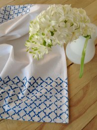 Diamond-printed tea towel by Salvage Ink; image copyright Shannon Smith, Salvage Ink