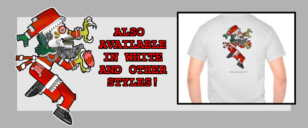 Zazzle-ad-AZTEC-SANTA-WHITE-shirt