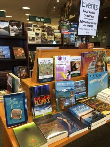 Barnes & Noble's author showcase display table.
