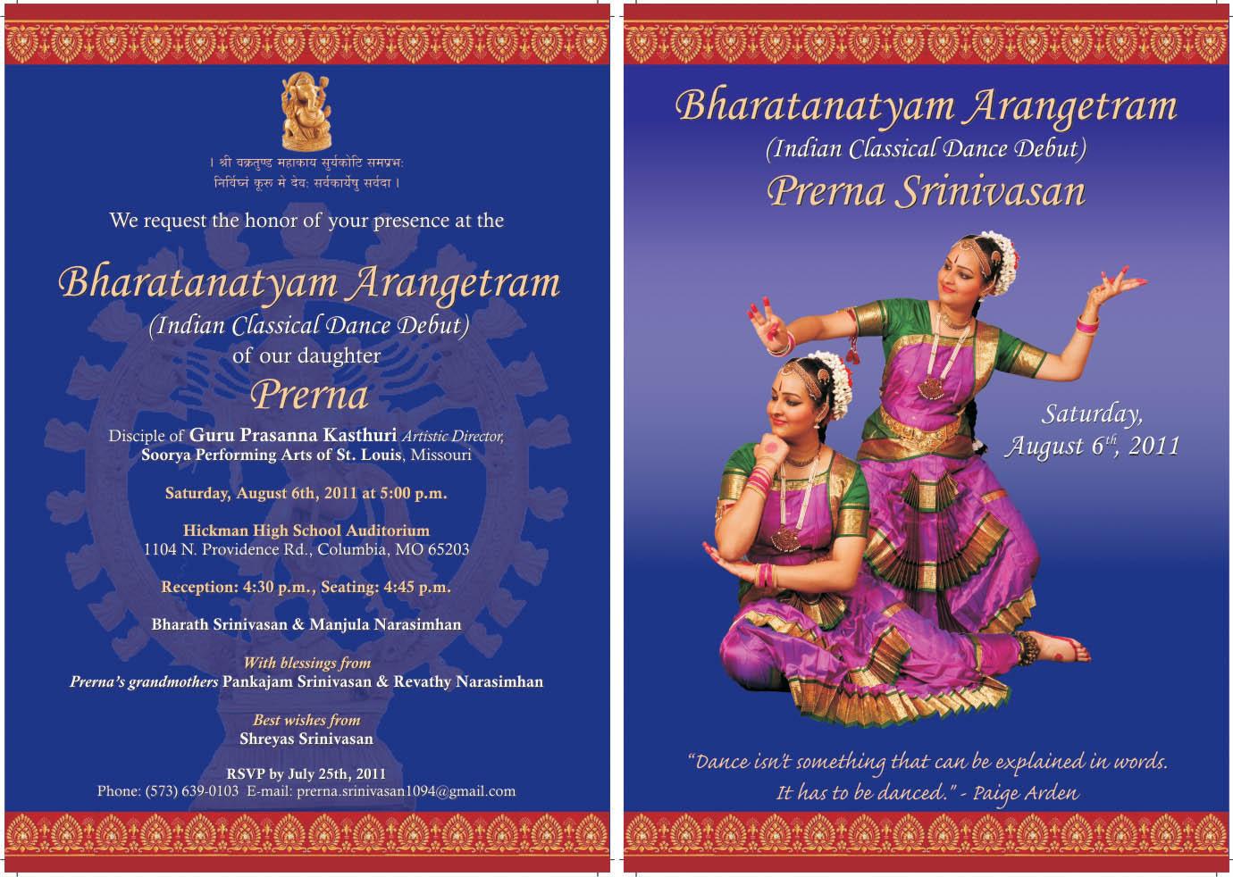 bharatanatyam arangetram invitation wording Inviviewco