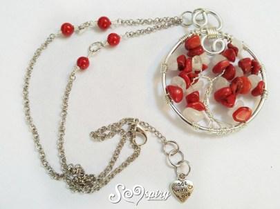 collana albero della vita wire ciondolo corallo rosso bambù agata bianca3